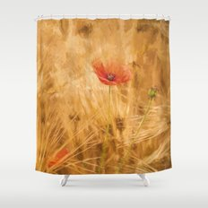 Fiery poppy in a golden cornfield- Poppies Flower Flowers #Society6 Shower Curtain