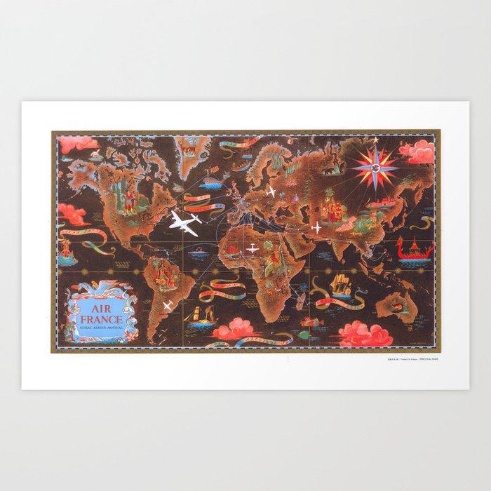1948 World Map.World Map Wall Art 1948 Dorm Decor Mappemonde Air France Art Print