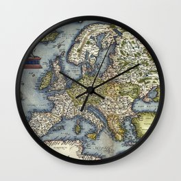 Map of Europe by Abraham Ortelius - 1571 Wall Clock