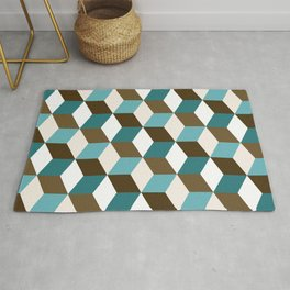 Cubes Pattern Teals Browns Cream White Rug