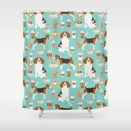 Beagle coffee print cute dog beagles coffees lattes Shower Curtain