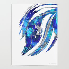 Blue and White Abstract Art - Flowing 2 - Sharon Cummings Poster