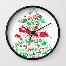 Christmas Tree Santa Sleigh Gift Wall Clock