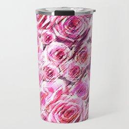 Textured Roses Pink Amanya Design Travel Mug