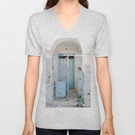 Blue door, Plaka, Milos, Greece Unisex V-Neck