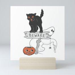 Beware! The Black Demonic Cat is Here Mini Art Print