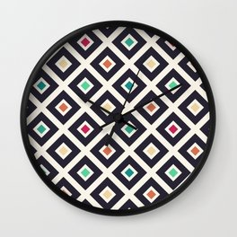 Modern Trendy Geometric Patter in Fresh Vintage Coffee Style Colors Wall Clock
