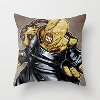 resident evil Throw Pillows featuring Nemesis: Resident Evil by Patrick Scullin
