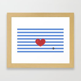 Red Heart and Blue Stripes Framed Art Print