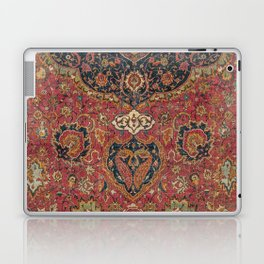 Persian Medallion Rug VII // 16th Century Distressed Red Green Blue Flowery Colorful Ornate Pattern Laptop & iPad Skin