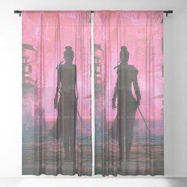 Fascinating Female Warrior Futuristic Fantasy Cyber Village Ultra HD Sheer Curtain
