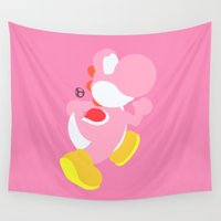 yoshi Wall Tapestries featuring Yoshi(Smash)Pink by ejgomez