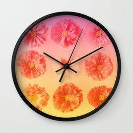 Orange Gradient Flower Grid Wall Clock