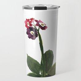 Minimalist Primula Watercolor Print Travel Mug