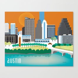 Austin, Texas - Skyline Illustration by Loose Petals Canvas Print