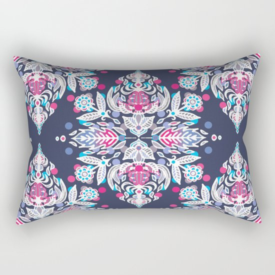 Pastel Folk Art Pattern in soft navy, pink, mauve & white Rectangular Pillow
