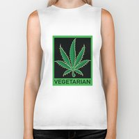 vegetarian Biker Tanks featuring Vegetarian Marijuana Leaf by BudProducts.us