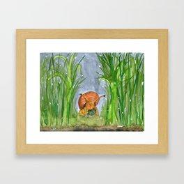 Tli bajo la lluvia Framed Art Print