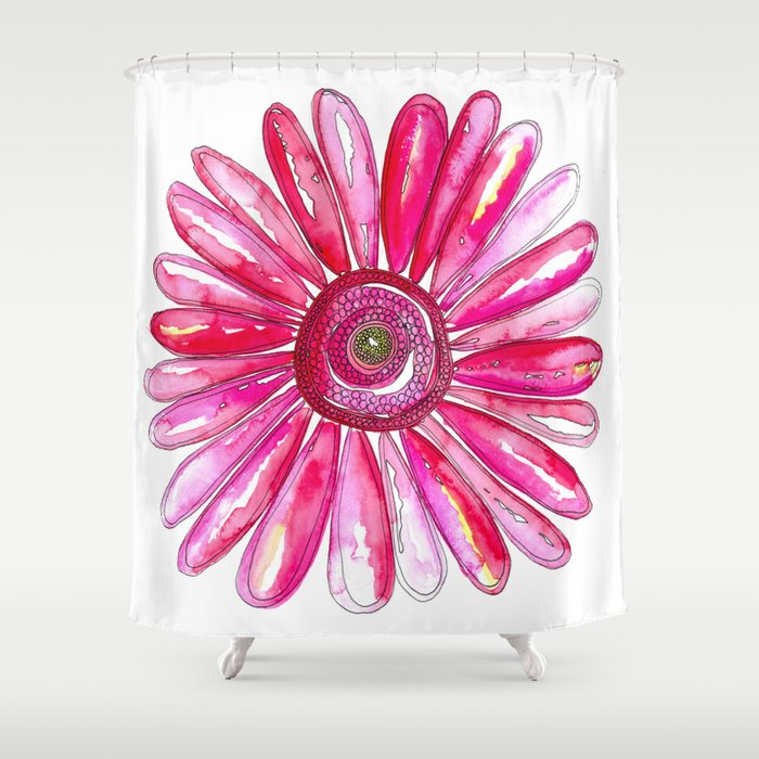 Pink Gerber Daisy Shower Curtain By Kathryncole