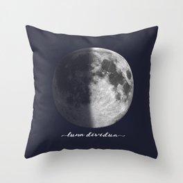 First Quarter Moon on Navy Latin Throw Pillow