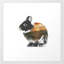 Rabbit Double Exposure Art Print