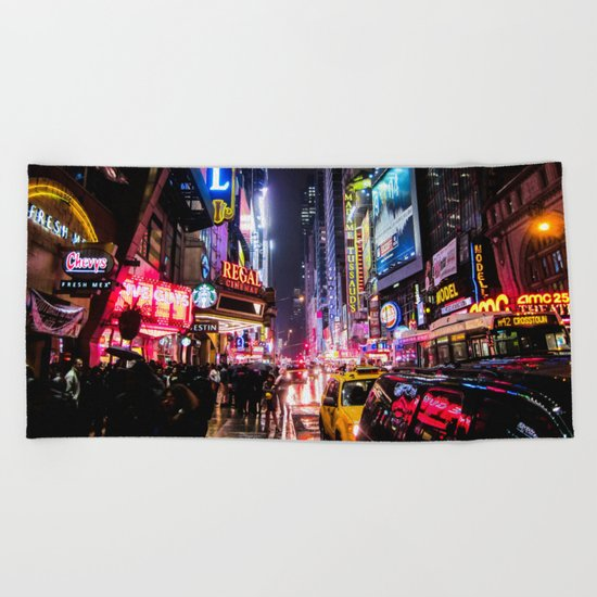 New York City Night Beach Towel