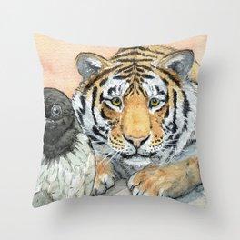 Crow and Tiger c031 Throw Pillow
