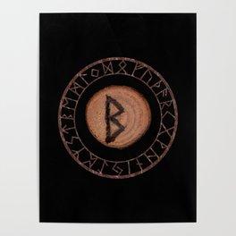 Berkano Elder Futhark Rune secrecy, silence, safety, mature wisdom, dependence, female fertility Poster