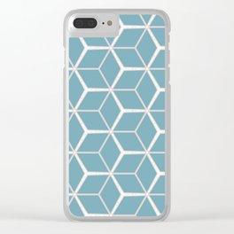 Sea Foam Blue Geometric Pattern Clear iPhone Case