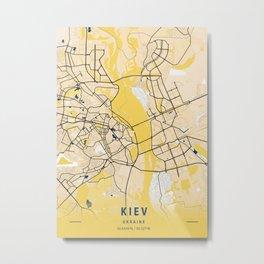 Kiev Yellow City Map Metal Print
