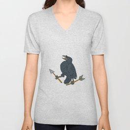 Crow Clutching Broken Arrow Drawing Unisex V-Neck