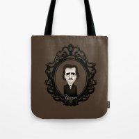 edgar allan poe Tote Bags featuring Edgar Allan Poe by Designs By Misty Blue (Misty Lemons)