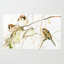 Sparrows on Tree Rug