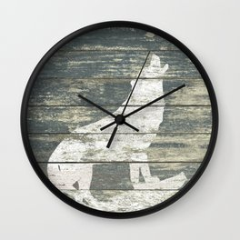 Rustic White Wolf Silhouette A383 Wall Clock