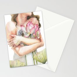 Woman hugging Flowers, Lotus Flowers, Blessing Stationery Cards