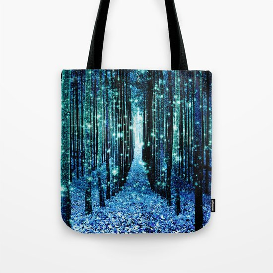 Magical Forest Teal Turquoise Tote Bag
