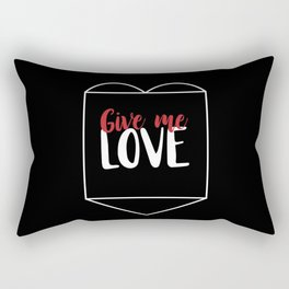 Give Me Love Black Heart Rectangular Pillow