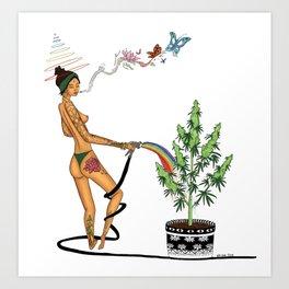 Rainbow Weed Babe - Higher Life Kunstdrucke