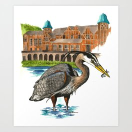 Great Blue Heron in Humboldt Park Art Print
