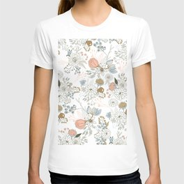 Elegant abstract coral pastel blue modern rustic floral T-shirt