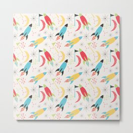 Out of Space, Planets, Stars Children's Pattern - White Metal Print