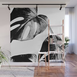 Black monstera leaves watercolor Wall Mural