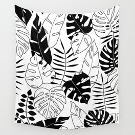 black and white tropical minimal leaves poster Wall Tapestry