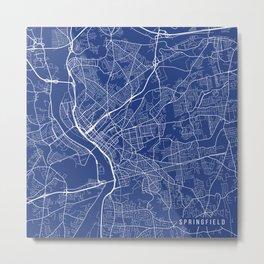 Springfield Map, USA - Blue Metal Print