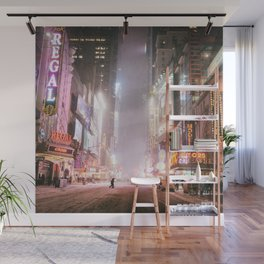 New York City Colorful Snowy Night in Times Square Wall Mural