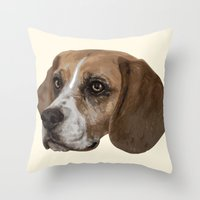 beagle Throw Pillows featuring Beagle by Goncalo