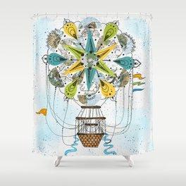 Hot Air Balloon Mandala Shower Curtain