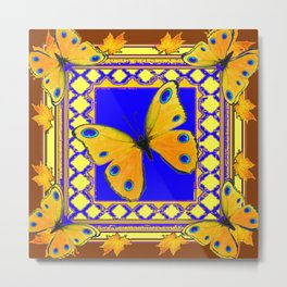 Golden Yellow Yellow Spotted Butterflies Brown-Blue Art Metal Print