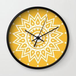 Yellow Mandala Wall Clock