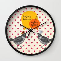 bonjour Wall Clocks featuring Bonjour! by Sreetama Ray